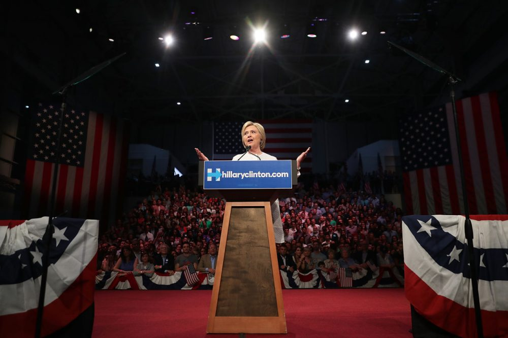 Democratic presidential candidate former Secretary of State Hillary Clinton speaks during a primary night event on June 7, 2016 in Brooklyn, New York. Hillary Clinton surpassed the number of delegates needed to become the democratic nominee over rival Bernie Sanders with a win in the New Jersey presidential primary  (Justin Sullivan/Getty Images)