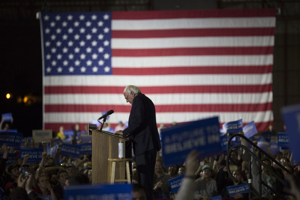 Democratic presidential candidate Senator Bernie Sanders (D-VT) speaks at his California primary election night rally on June 7, 2016 in Santa Monica, California. (David McNew/Getty Images)