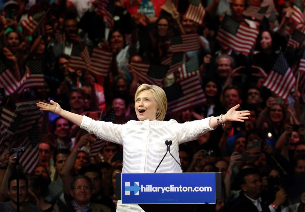 Democratic presidential candidate Hillary Clinton greets supporters during a presidential primary election night rally, Tuesday, June 7, 2016, in New York. (Julio Cortez/AP)