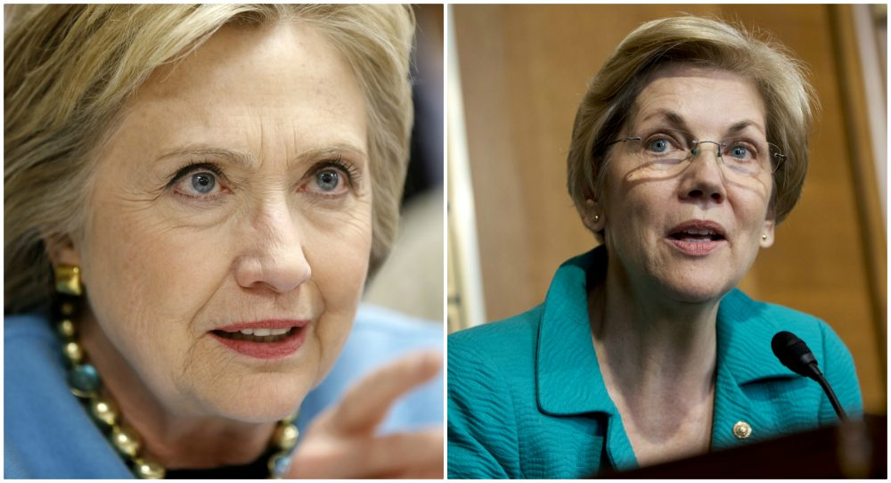 L-R, Democratic presidential candidate Hillary Clinton is pictured on Feb. 8, 2016; Sen. Elizabeth Warren, D-Mass., is pictured Oct. 6, 2015.