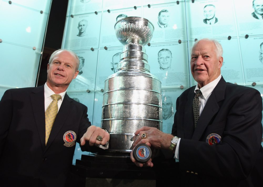 (L-R) 2011 Hall of Fame inductee Mark Howe poses along with his father Gordie Howe during a photo opportunity at the Hockey Hall Of Fame on November 14, 2011 in Toronto, Ontario, Canada.  (Bruce Bennett/Getty Images)