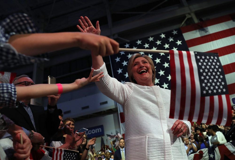 Democratic presidential candidate former Secretary of State Hillary Clinton greets supporters during a primary night event on June 7, 2016 in Brooklyn, New York.  Hillary Clinton beat rival Bernie Sanders in the New Jersey presidential primary.  (Justin Sullivan/Getty Images)