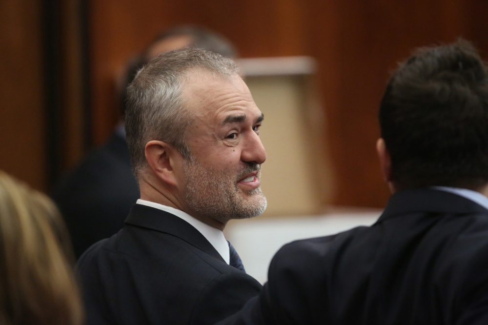 Nick Denton, founder of Gawker, talks with his legal team before Terry Bollea, aka Hulk Hogan, testifies in court during his trial against Gawker Media at the Pinellas County Courthouse on March 8, 2016 in St Petersburg, Florida.  Bollea is taking legal action against Gawker in a USD 100 million lawsuit for releasing a video of him having sex with his best friends wife.  (John Pendygraft-Pool/Getty Images)