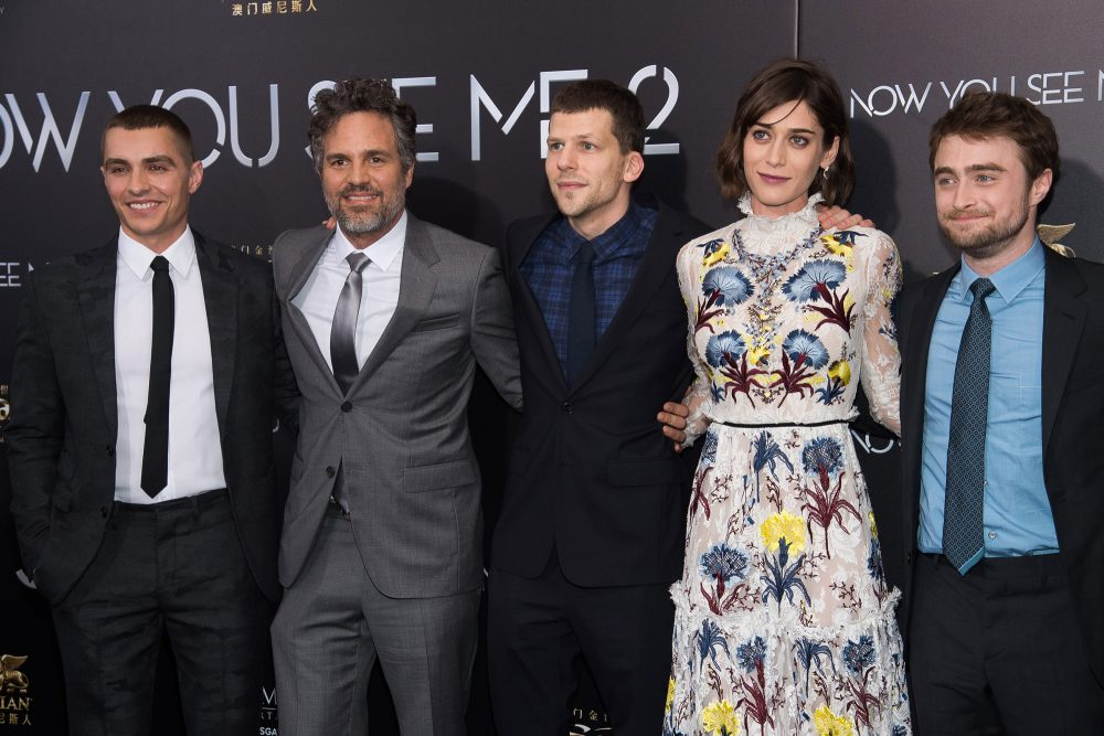 """Dave Franco, from left, Mark Ruffalo, Jesse Eisenberg, Lizzy Caplan and Daniel Radcliffe attend the world premiere of """"Now You See Me 2"""" at AMC Loews Lincoln Square on Monday, June 6, 2016, in New York. (Photo by Charles Sykes/Invision/AP)"""