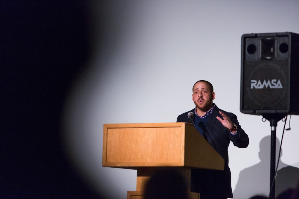Kevin Hines was brought to Western Washington University in Bellingham as part of their suicide prevention program to discuss his attempt to kill himself by jumping off the Golden Gate Bridge. (Courtesy/Joanne Silberner)