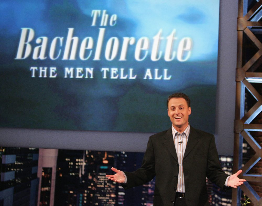 Host Chris Harrison attends the taping of The Bachelorette - The Men Tell All Special on February 12, 2005 in Los Angeles, California. (Vince Bucci/Getty Images)