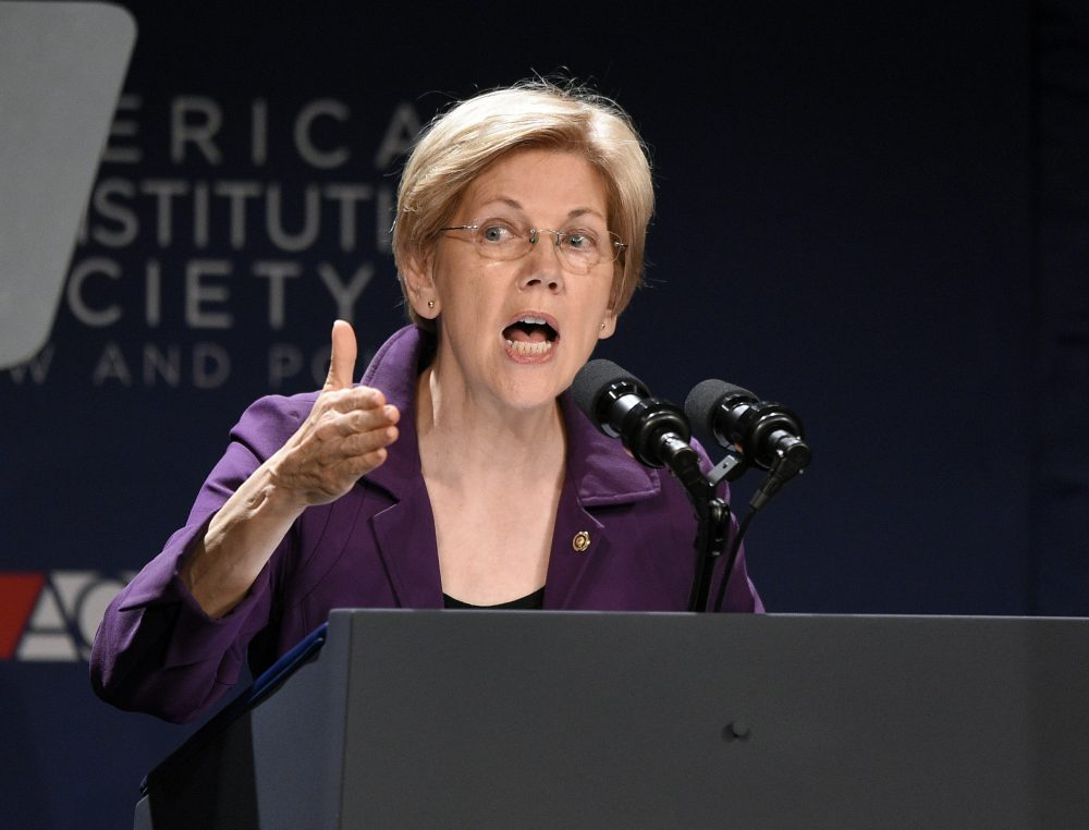 Sen. Elizabeth Warren, D-Mass., speaks at the American Constitution Society for Law and Policy 2016 National Convention on June 9. (Nick Wass/AP)