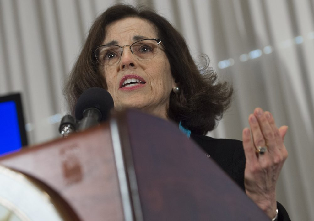 France Cordova, director of the National Science Foundation, speaks during an announcement that scientists have observed the ripples in the fabric of spacetime called gravitational waves for the first time, confirming a prediction of Albert Einstein's theory of relativity, during a press conference at the National Press Club in Washington, DC, February 11, 2016. (Saul Loeb/AFP/Getty Images)