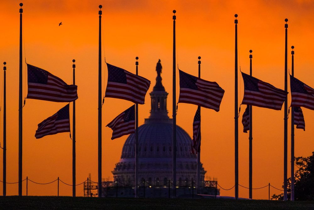 Flags fly at half-staff around the Washington Monument at daybreak in Washington with the U.S. Capitol in the background on Monday. President Obama ordered flags lowered to half-staff to honor the shooting victims. (J. David Ake/AP)