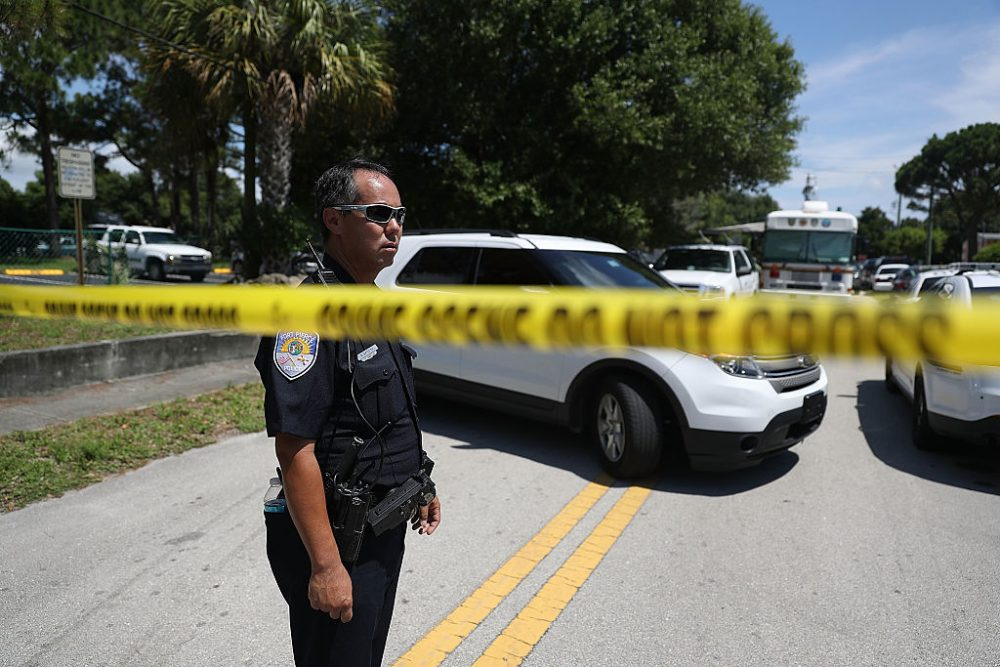 Police tape marks off the entrance to the apartment building where shooting suspect Omar Mateen is believed to have lived on June 12, 2016 in Fort Pierce, Florida.  ( Joe Raedle/Getty Images)