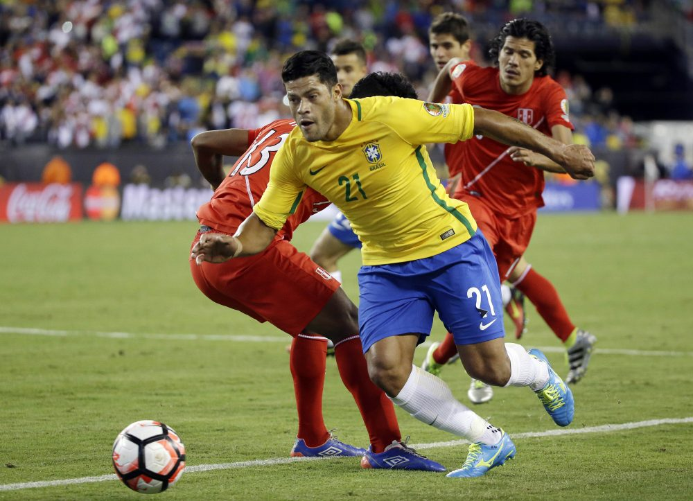 Brazil's Hulk (21) controls the ball in the second half of a Copa America Group B soccer match against Peru on Sunday in Foxborough. (Elise Amendola/AP)