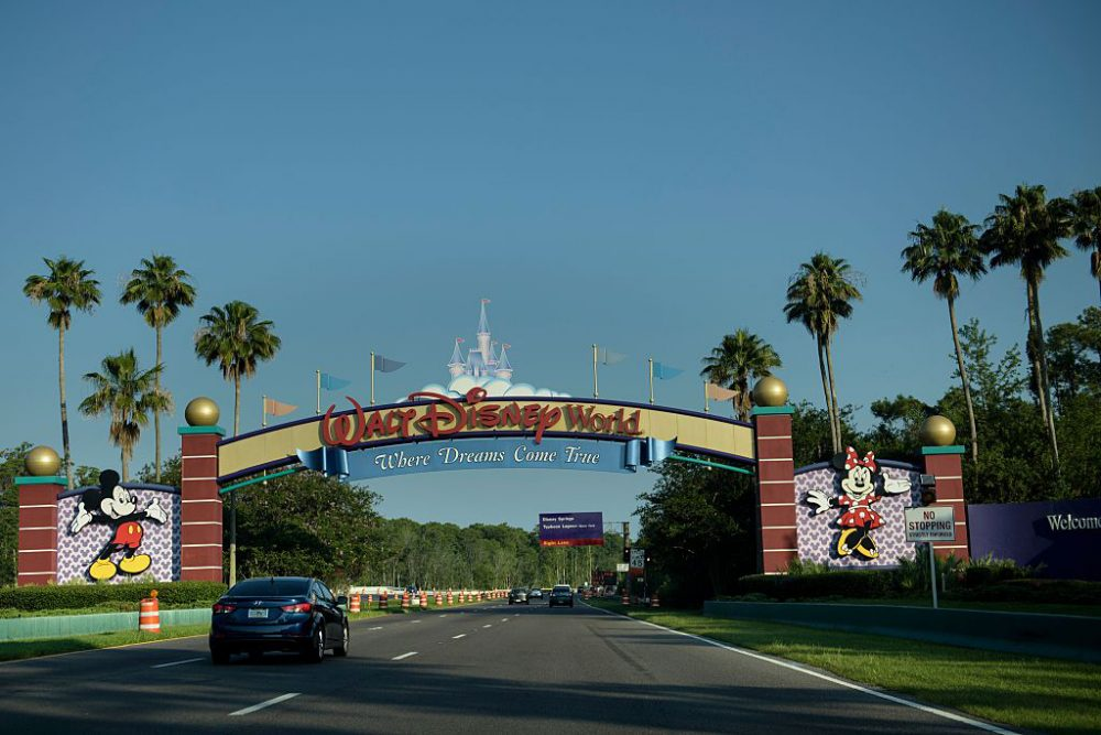 The entrance to the Walt Disney World theme park is seen June 15, 2016 in Orlando, Florida where a two-year-old boy was attacked by an alligator at the Seven Seas Lagoon by the Grand Floridian hotel. An American family's Disney vacation turned into a nightmare when an alligator snatched a two-year-old boy at the shore of a resort lake and fought off the father's frantic attempts to wrest the toddler from its mouth, officials said Wednesday. A search and rescue operation was launched after the attack Tuesday night at the Grand Floridian hotel not far from the Magic Kingdom was ongoing, but police said they held out little hope the boy would be found alive. (Brendan Smialowski/AFP/Getty Images)