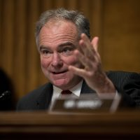 Sen. Tim Kaine (D-VA) questions witnesses during a Senate Foreign Relations Committee hearing concerning cartels and the U.S. heroin epidemic, on Capitol Hill, May 26, 2016, in Washington, DC. (Drew Angerer/Getty Images)