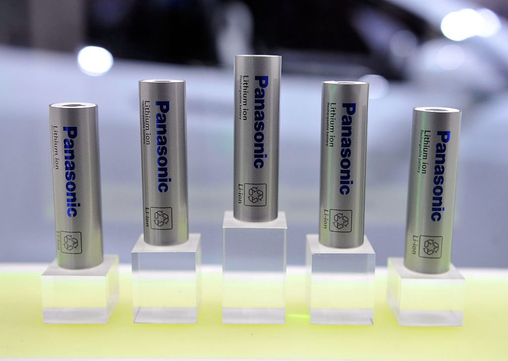 Lithium-ion batteries are displayed  at the Panasonic booth during the 2015 International CES at the Las Vegas Convention Center on January 6, 2015 in Las Vegas, Nevada. (David Becker/Getty Images)