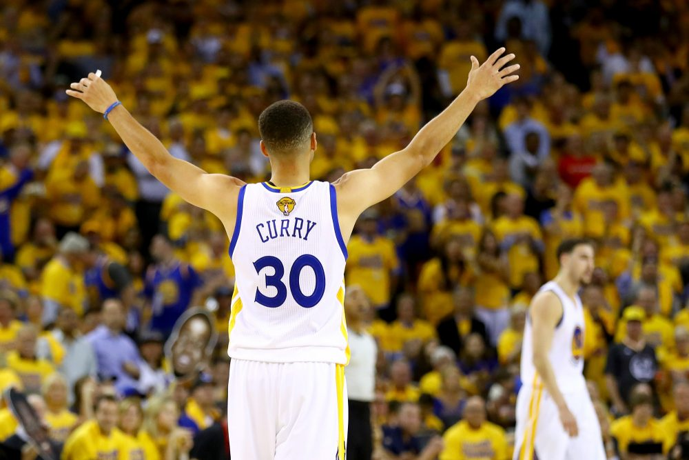 Stephen Curry of the Golden State Warriors celebrates against the Cleveland Cavaliers during the second quarter in Game 5 of the 2016 NBA Finals at ORACLE Arena on June 13, 2016 in Oakland, California. (Ezra Shaw/Getty Images)
