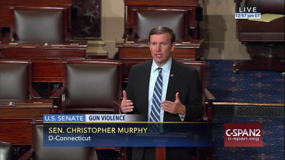 This frame grab provided by C-SPAN shows Sen. Chris Murphy, D-Conn. speaking on the floor of the Senate on Capitol Hill on Wednesday, where he launched a filibuster demanding a vote on gun control measures. (Senate Television via AP)