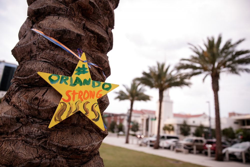 A star adorns a palm tree near a memorial site for the victims of the Pulse Nightclub shooting, June 15, 2016 in Orlando, Florida. (Drew Angerer/Getty Images)