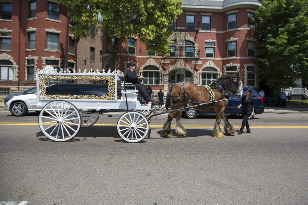 Raekwon Brown's casket is driven down Warren Street in a horse-drawn carriage to his burial site at Oak Lawn Cemetery in Roslindale. (Jesse Costa/WBUR)