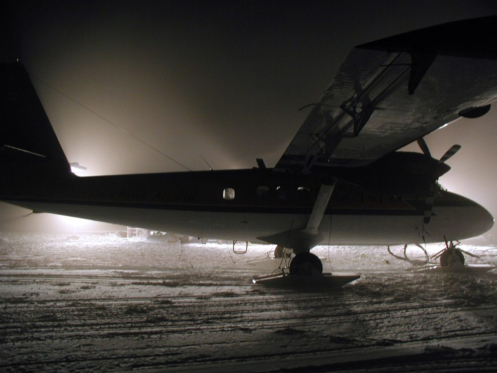 The aircraft and crew of the Twin Otter arrive at the NSF's Amundsen-Scott South Pole station to provide medical supplies April 24, 2001, for the first part of a dangerous mission to rescue Dr. Ronald Shemenski who was suffering from a potentially life-threatening gall bladder ailment.  (Getty Images)