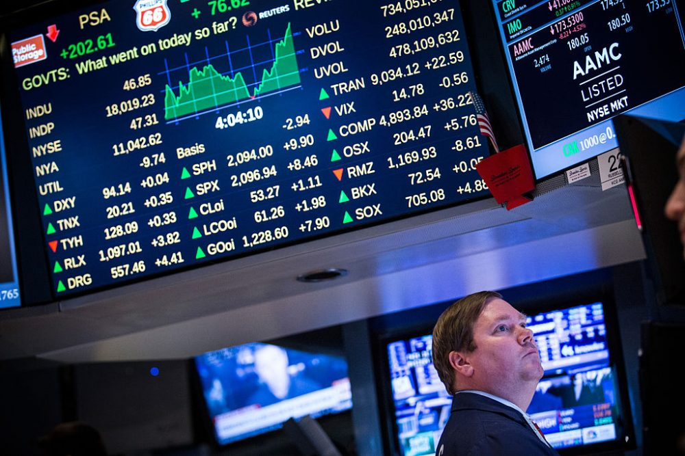 A trader works on the floor of the New York Stock Exchange during the afternoon of February 13, 2015 in New York City. (Andrew Burton/Getty Images)