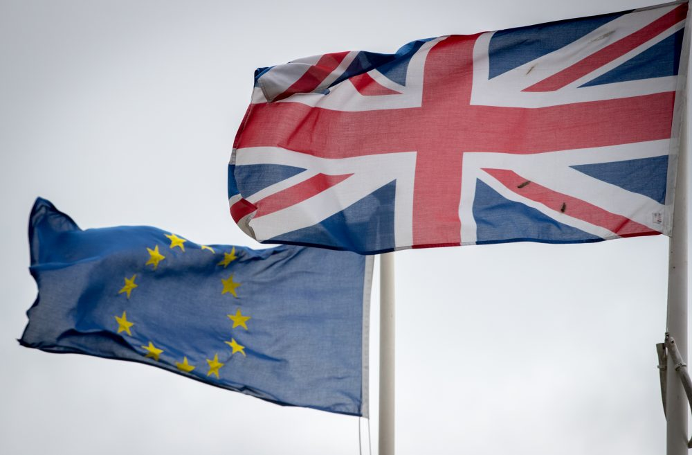 The Union Jack flag flies besides the flag of the European Union in front of City Hall on June 14, 2016 in Cardiff, Wales.(Matt Cardy/Getty Images)