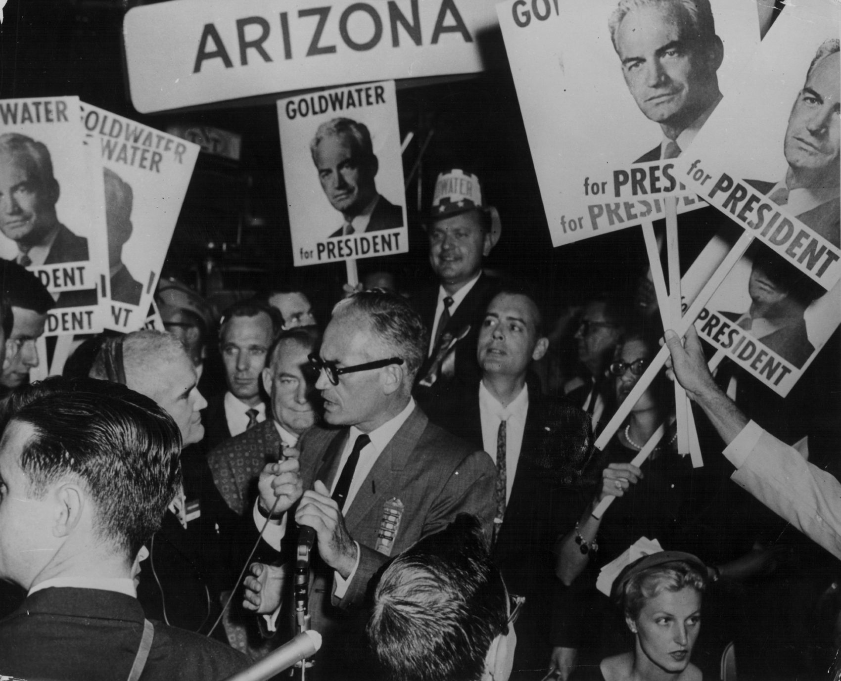 Senator Barry Goldwater, surrounded by his supporters as he campaigns for the Republican candidacy, 1952. (Keystone/Hulton Archive/Getty Images)