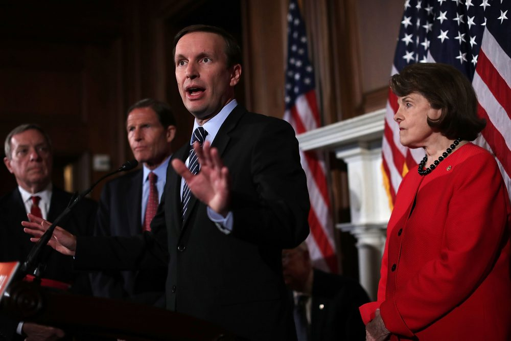U.S. Sen. Christopher Murphy (D-CT) speaks as Sen. Dianne Feinstein (D-CA) (R), Minority Whip Richard Durbin (D-IL) (L) and Sen. Richard Blumenthal (D-CT) (2nd L) participate in a news conference on gun control at the Capitol June 20, 2016 in Washington, DC. The Senate failed to pass four competing amendments on gun control just a week after the nation's worst mass shooting in modern history at a gay nighclub in Orlando, Florida. (Alex Wong/Getty Images)