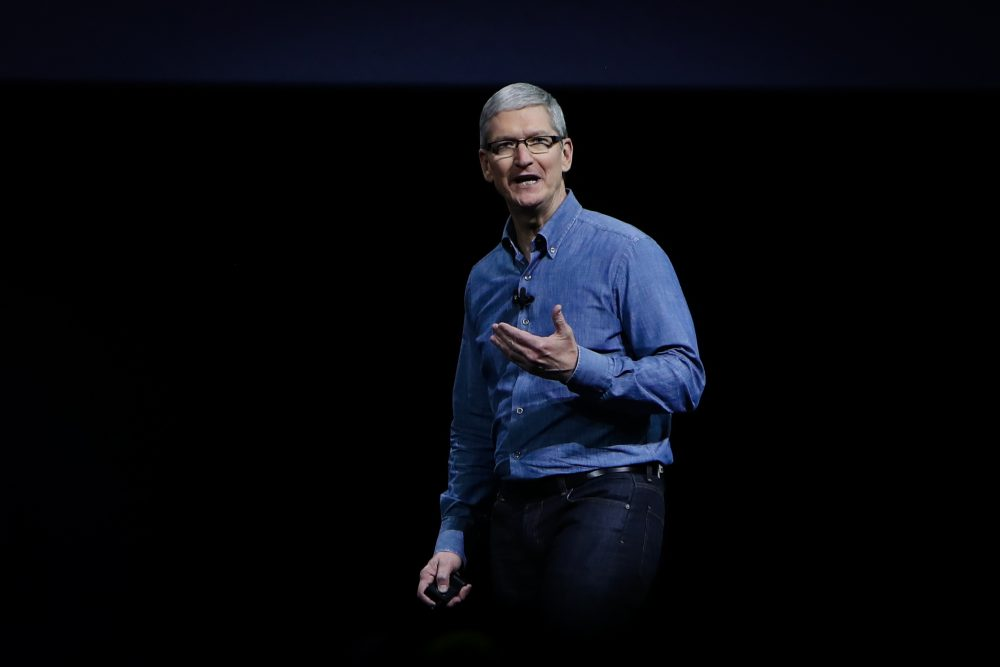 Apple CEO Tim Cook delivers the keynote address at Apple's annual Worldwide Developers Conference at the Bill Graham Civic Auditorium in San Francisco, California, onJune 13, 2016. (Gabrielle Lurie/AFP/Getty Images)