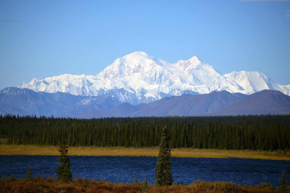A view of Denali, formerly known as Mt. McKinley, on September 1, 2015 in Denali National Park, Alaska. According to the National Park Service, the summit elevation of Denali is 20,320 feet and is the highest mountain peak in North America. (Lance King/Getty Images)