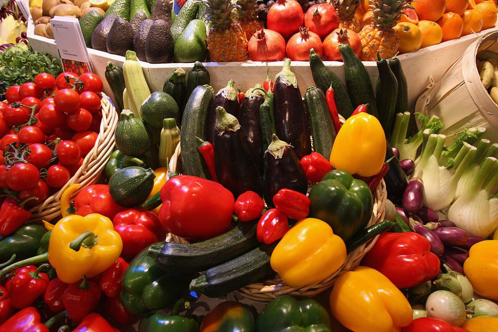 Different kinds of vegetables, including paprikas, zucchini, onions and tomatoes, lie on display at a government stand that offers information on nutrition at the Gruene Woche agricultural trade fair January 18, 2008 in Berlin, Germany. (Sean Gallup/Getty Images)