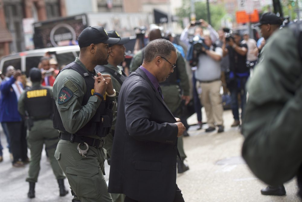 Baltimore police officer Caesar Goodson Jr. arrives at the Circuit Court before the judge issues the verdict in his trial on June 23, 2016 in Baltimore, Maryland. (Mark Makela/Getty Images)