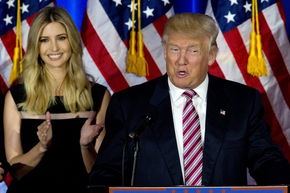 Republican presidential candidate Donald Trump is joined by his daughter Ivanka as he speaks during a news conference at the Trump National Golf Club Westchester, Tuesday, June 7, 2016, in Briarcliff Manor, N.Y. (AP Photo/Mary Altaffer)
