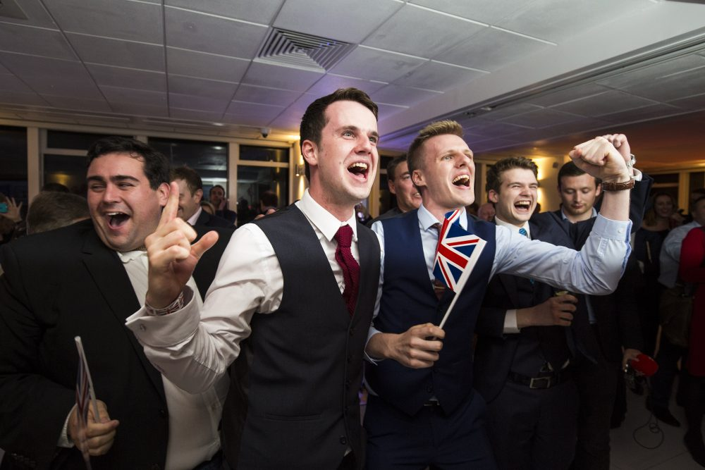 People react to a regional EU referendum result at the Leave.EU campaign's referendum party at Millbank Tower on June 23, 2016 in London, England. The United Kingdom has gone to the polls to decide whether or not the country wishes to remain within the European Union. After a hard fought campaign from both REMAIN and LEAVE the vote is too close to call. A result on the referendum is expected on Friday morning. (Jack Taylor/Getty Images)