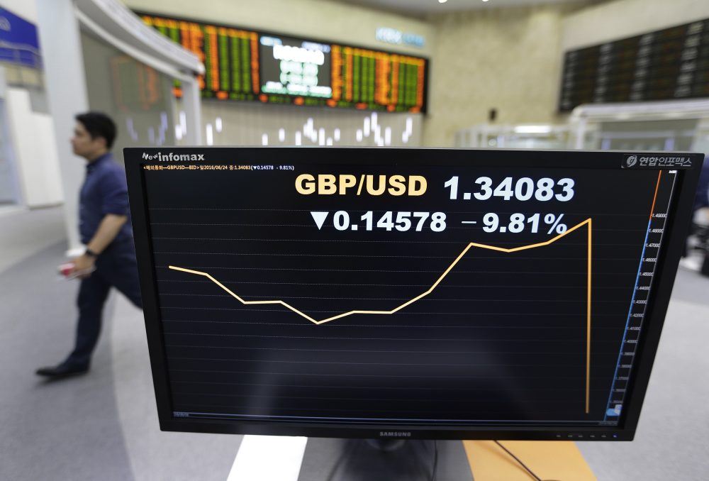 World financial markets were rocked Friday by Britain's unprecedented vote to leave the European Union, with stock markets and oil prices crashing and the pound hitting its lowest level in three decades. (Ahn Young-joon/AP)