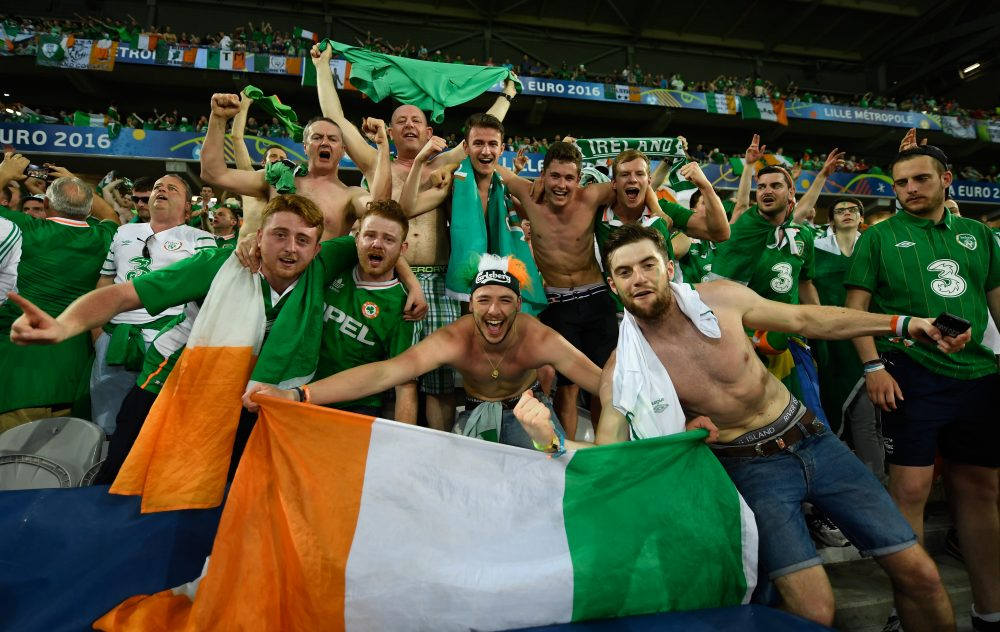 Ireland supporters' good-natured tomfoolery happily contrasts the nasty hooliganism that has marred Euro 2016. (Mike Hewitt/Getty Images)