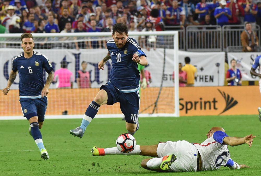 Lionel Messi and Argentina crushed the United States 4-0 in the semifinals of Copa America. (Mark Ralston/AFP/Getty Images)