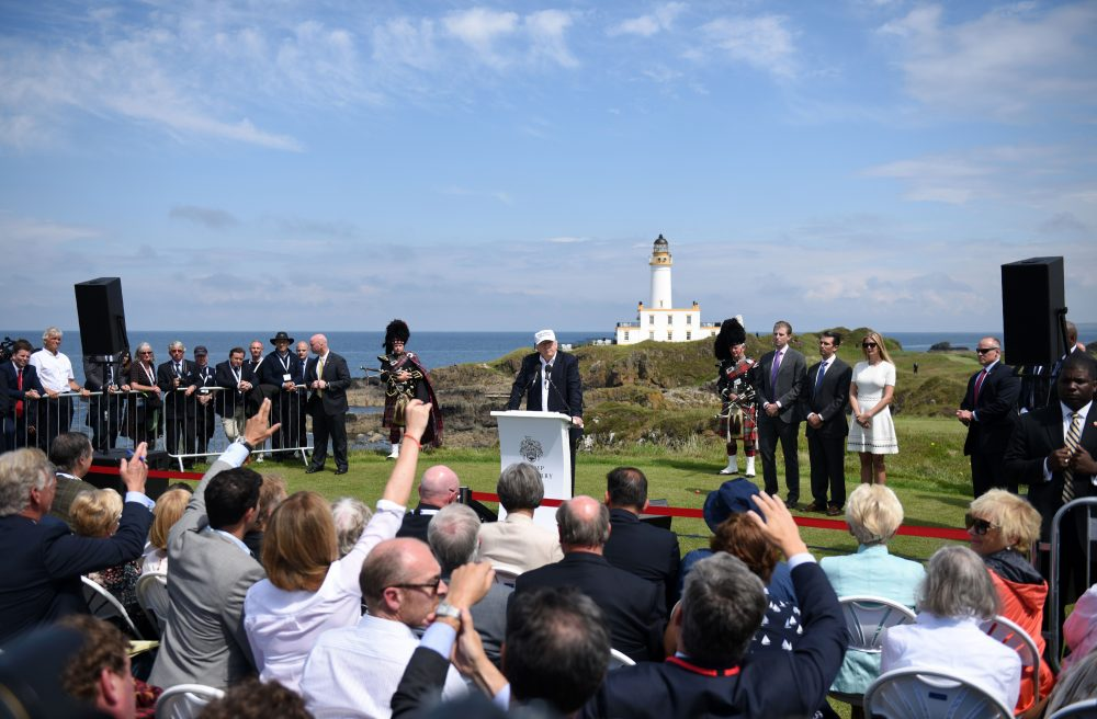 In this file photo, President-Elect Donald Trump takes questions after delivering a speech and officially opening his Trump Turnberry hotel and golf resort in Turnberry, Scotland on June 24, 2016. (Oli Scarff/AFP)