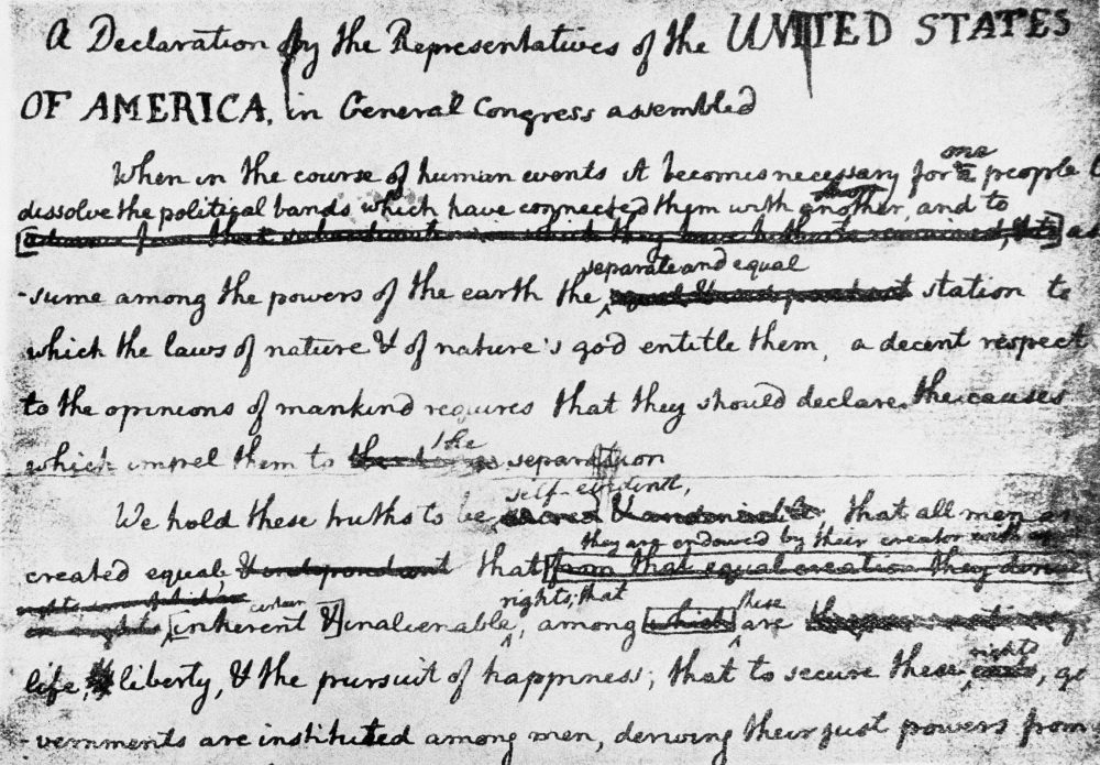 The rough draft of the Declaration of Independence, written by John Adams and Benjamin Franklin before adoption by Congress. (AP)
