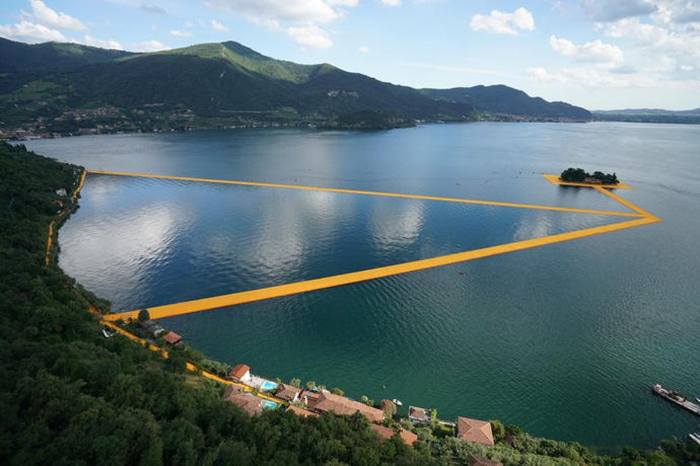 """The Floating Piers,"" by Christo and Jeanne-Claude, Lake Iseo, Italy, 2016 (Courtesy Wolfgang Volz/Christo)"