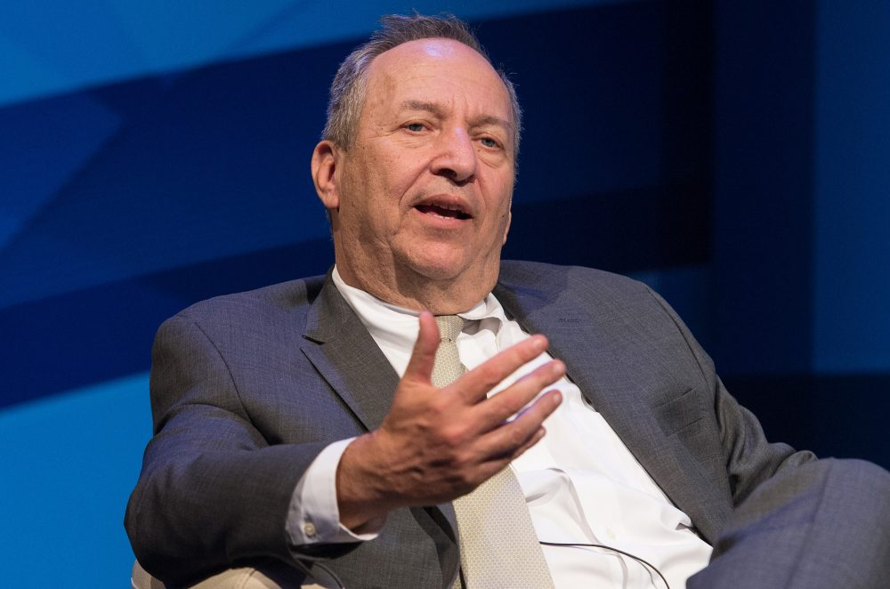 "Former US treasury secretary Larry Summers speaks during a discussion entitled ""The New Normal in Asia: Will Growth Inevitably Slow?"" at the IMF/WB Spring Meetings in Washington, DC, on April 16, 2015.  (NICHOLAS KAMM/AFP/Getty Images)"