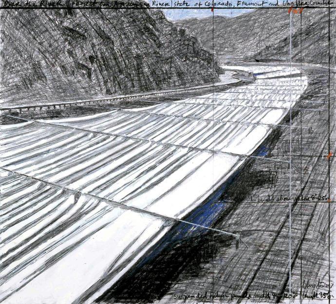 """Over the River,"" by Christo, project for Arkansas River, drawing, 2007 (Wolfgang Volz/Christo)"