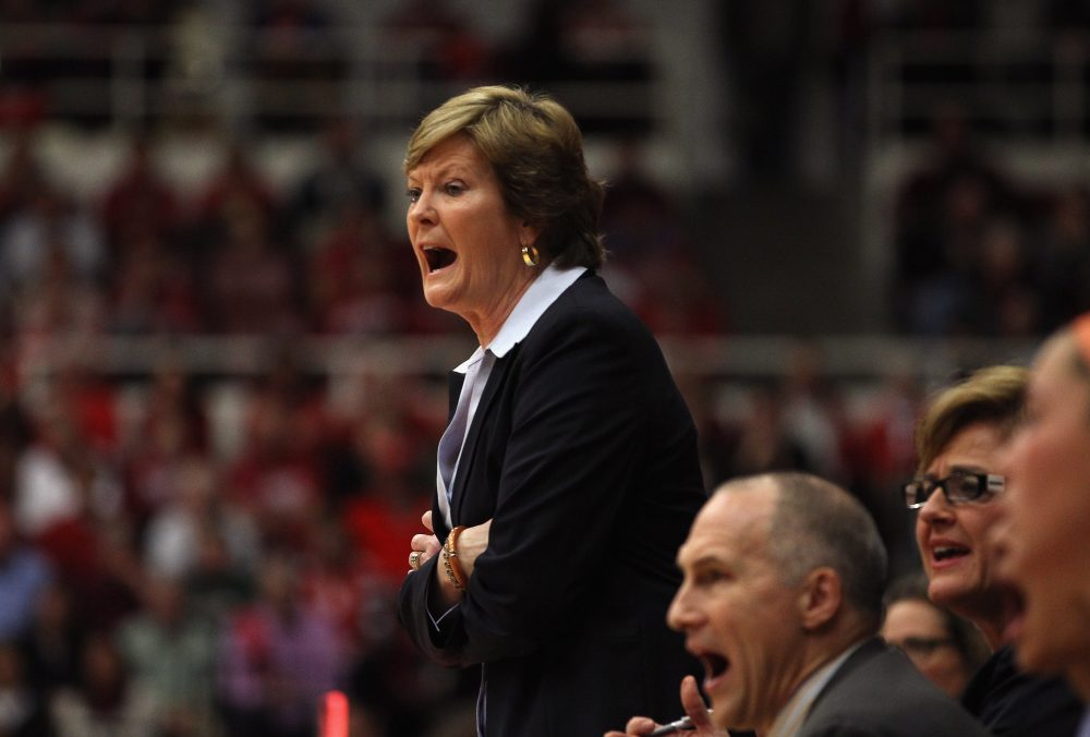 Tennessee Lady Volunteers head coach Pat Summitt shouts to her team during their game against the Stanford Cardinal at Maples Pavilion on December 20, 2011 in Palo Alto, California. (Ezra Shaw/Getty Images)