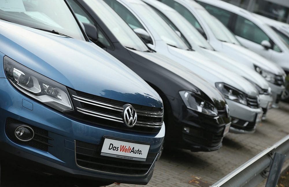 Used cars of German carmaker Volkswagen stand on display at a Volkswagen car dealership on September 22, 2015 in Berlin, Germany. Volkswagen CEO  (Sean Gallup/Getty Images)