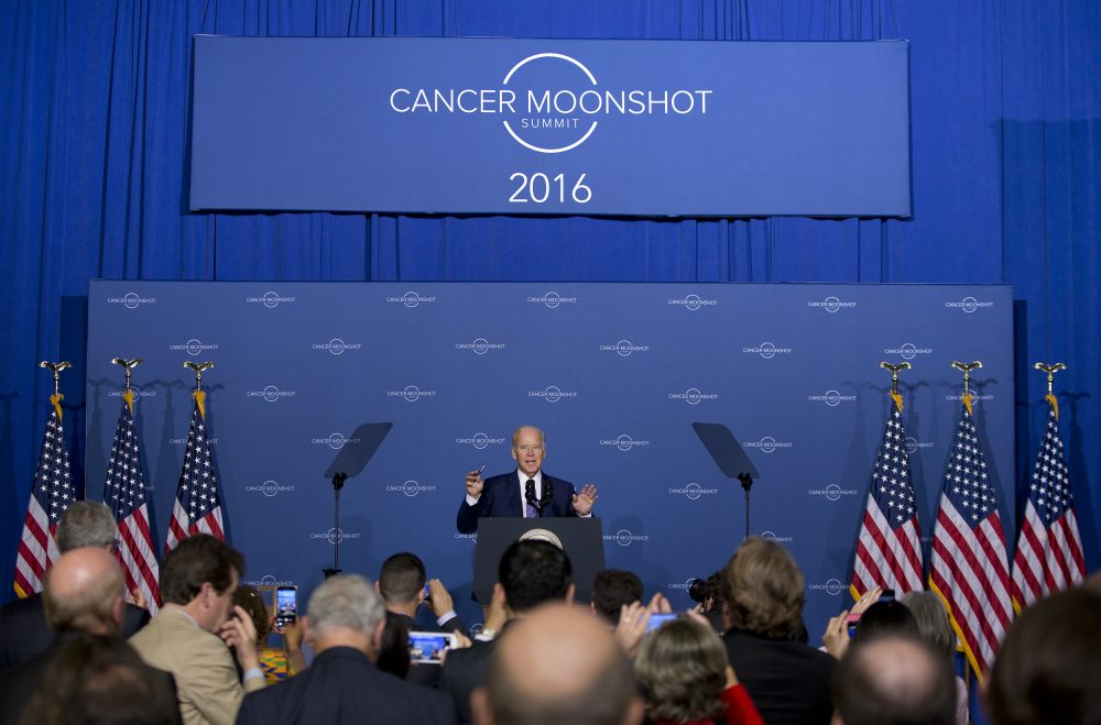 Vice President Joe Biden speaks at the Cancer Moonshot Summit at Howard University in Washington, Wednesday, June 29, 2016. Biden is trying to bolster efforts to cure cancer at this summit focusing on research and innovative trials. (Carolyn Kaster/AP)