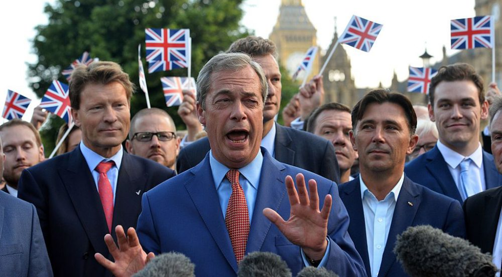Leader of the United Kingdom Independence Party (UKIP), Nigel Farage speaks during a press conference near the Houses of Parliament in central London on June 24, 2016. Photo credit should read (Glyn Kirk/ AFP/Getty Images)