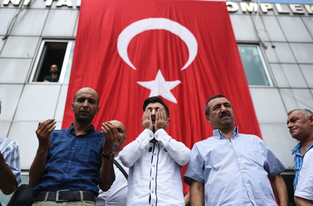 People attend the funeral ceremony of taxi driver Mustafa Biyikli who was killed in the June 28, 2016 airport attack, on June 29, 2016 in Istanbul, a day after a suicide bombing and gun attack targeted Istanbul's airport, killing at least 41 people. (Bulent Kilic/AFP/Getty Images)