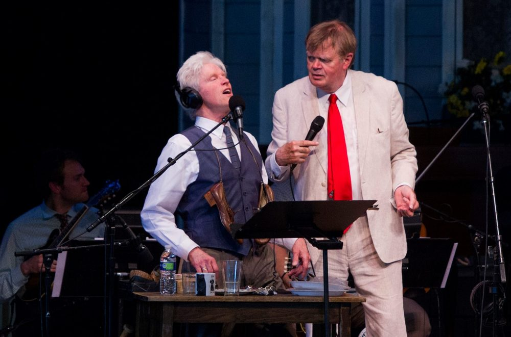 """Actor and sound effects artist Fred Newman (left) performs on stage with """"A Prairie Home Companion"""" host Garrison Keillor. (Courtesy/A Prairie Home Companion via Facebook)"""