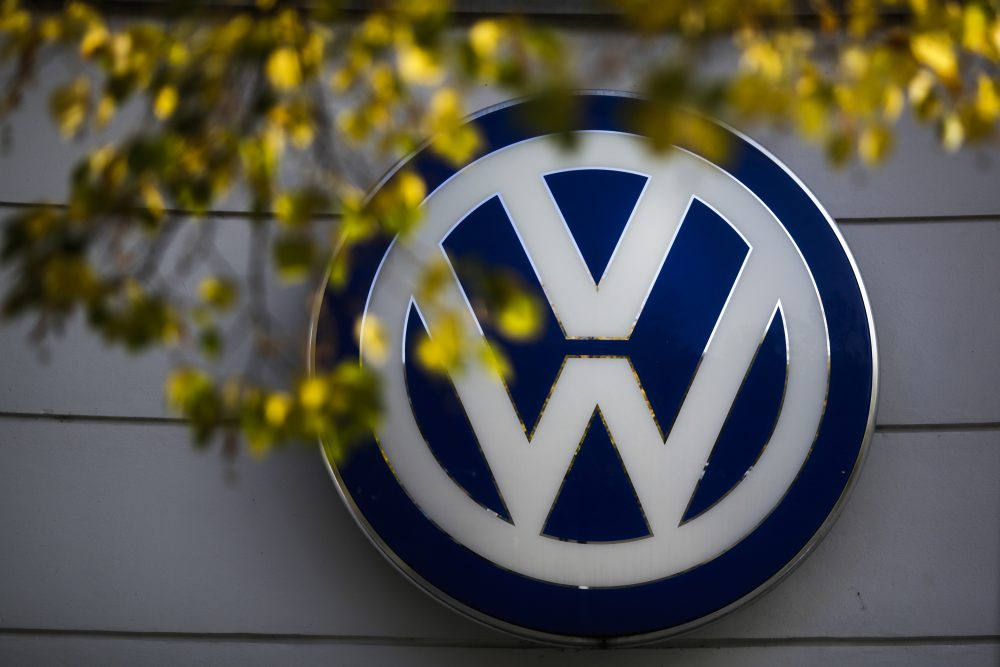 The VW sign of Germany's Volkswagen car company is displayed at the building of a company's retailer in Berlin. (Markus Schreiber/AP)