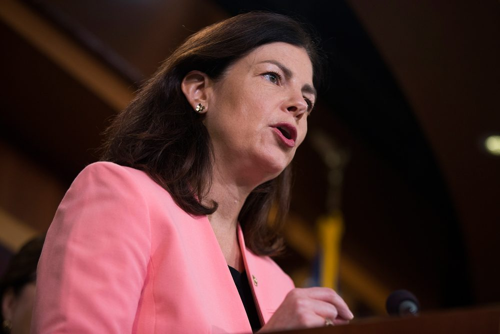 Sen. Kelly Ayotte, R-N.H. speaks during a news conference on Capitol Hill on June 21. (Evan Vucci/AP)