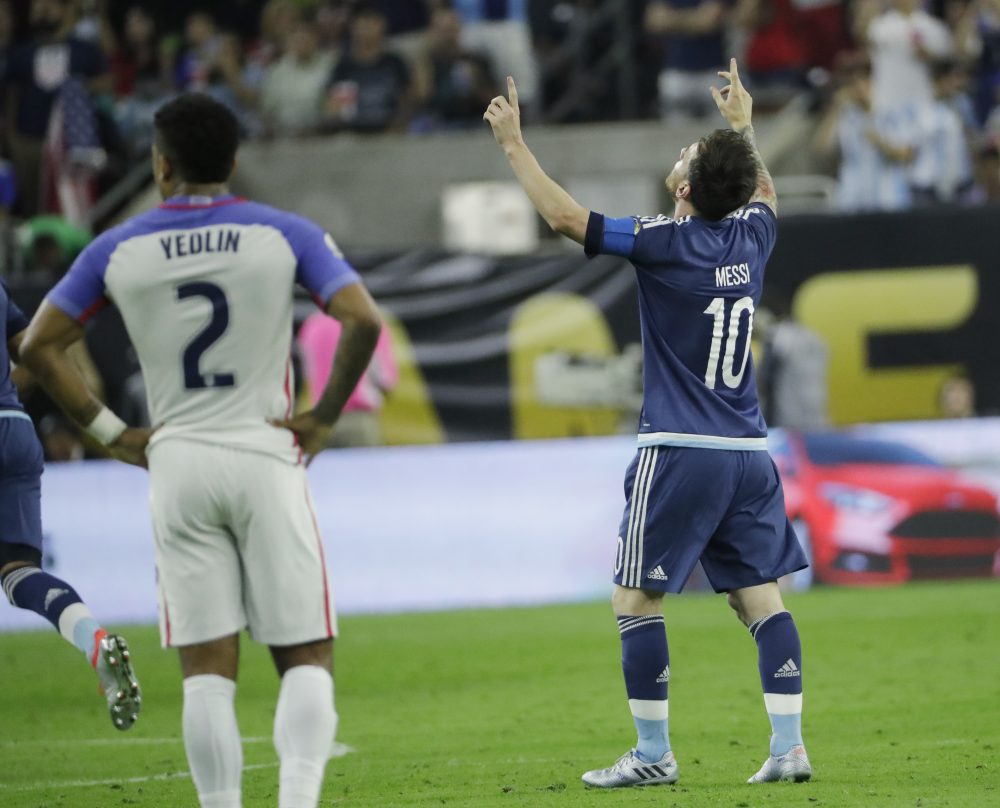 Argentina's Lionel Messi (10) celebrates a goal during a Copa America Centenario semifinal soccer match against the United States, Tuesday, June 21, 2016, in Houston. (David J. Phillip/AP)